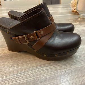 UGG CLOGS Wood sole Heel Brown SLIP-ON SHOES 12